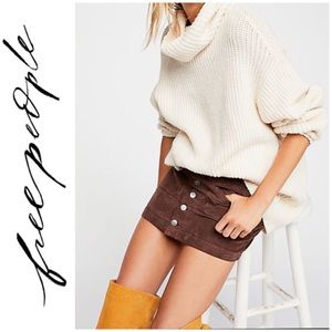 🆕 NWOT FREE PEOPLE Corduroy Chocolate Mini Skirt